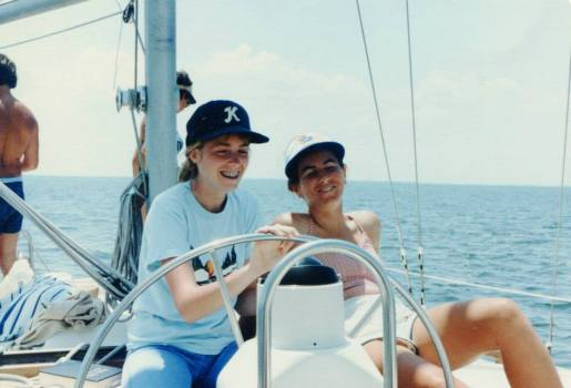 Cath taking the wheel on our Wakefield HS Sailing Beyond adventure summer of 1982